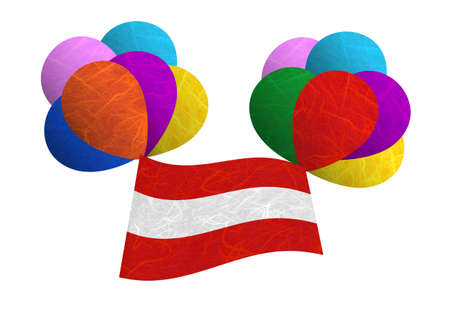 Austria flag balloon on the wind. Mulberry paper on white background. Stock Photo