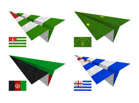 Nation Flag. Airplane recycled paper on white background. ( Abkhazia , Adygea , Afghanistan , Ajaria ) photo