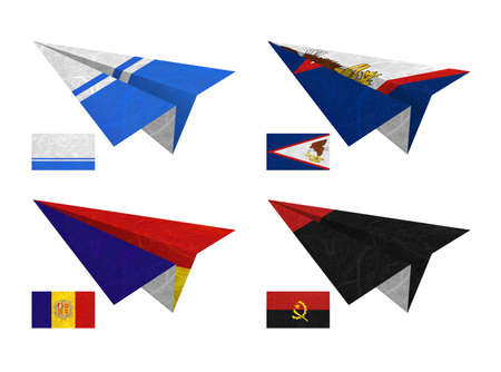 Nation Flag. Airplane recycled paper on white background. ( Altai Republic , American Samoa , Andorra , Angola )
