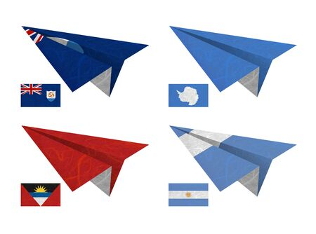 Nation Flag. Airplane recycled paper on white background. ( Anguilla , Antarctica , Antigua and Barbuda , Argentina ) photo