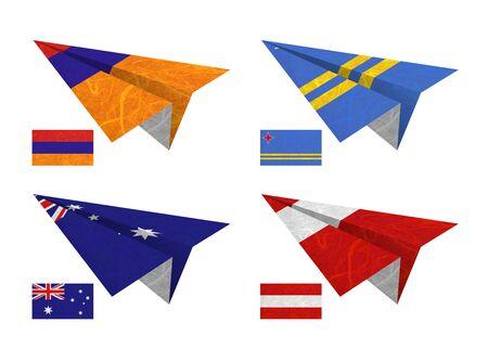 Nation Flag. Airplane recycled paper on white background. ( Armenia , Aruba , Australia , Austria ) photo