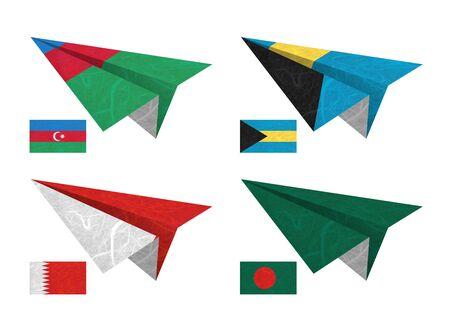 Nation Flag. Airplane recycled paper on white background. ( Azerbaijan , Bahamas , Bahrain , Bangladesh )