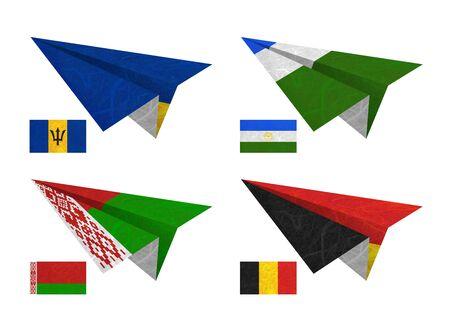 Nation Flag. Airplane recycled paper on white background. ( Barbados , Bashkortostan , Belarus , Belgium )