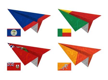 Nation Flag. Airplane recycled paper on white background. ( Belize , Benin , Bermuda , Bhutan )