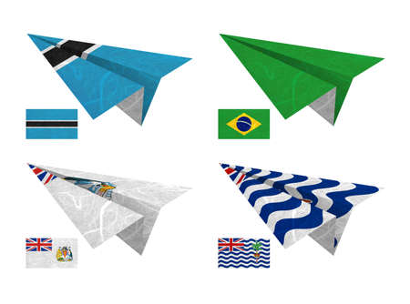 indian ocean: Nation Flag. Airplane recycled paper on white background. ( Botswana , Brazil , British Antarctic Territory , British Indian Ocean Territory )