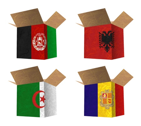 Nation Flag. Box recycled paper on white background. ( Afghanistan , Albania , Algeria , Andorra )