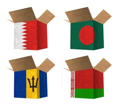 Nation Flag. Box recycled paper on white background. ( Bahrain , Bangladesh , Barbados , Belarus )