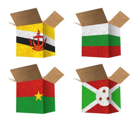 brunei darussalam: Nation Flag. Box recycled paper on white background. ( Brunei Darussalam , Bulgaria , Burkina Faso , Burundi )