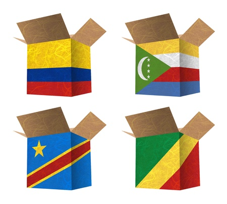 democratic republic of the congo: Nation Flag  Box recycled paper on white background    Colombia , Comoros , Congo Democratic Republic , Congo Republic