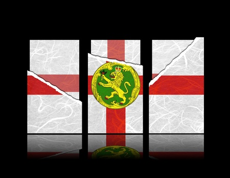 Alderney flag of tear paper with gift cards  Mulberry paper on black background