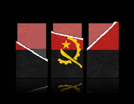 Angola flag of tear paper with gift cards  Mulberry paper on black background