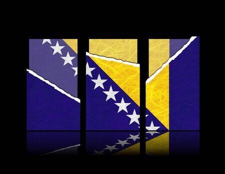 Bosnia and Herzegovina flag of tear paper with gift cards. Mulberry paper on black background.