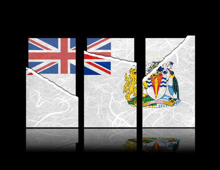 British Antarctic Territory flag of tear paper with gift cards. Mulberry paper on black background.