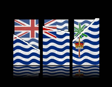 indian ocean: British Indian Ocean Territory flag of tear paper with gift cards. Mulberry paper on black background.