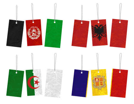 Nation Flag. Tag recycled paper on white background. ( Afghanistan , Albania , Algeria , Andorra )