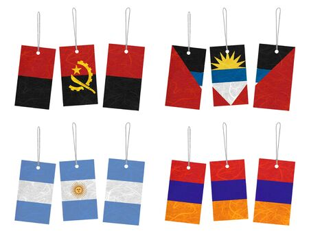 Nation Flag. Tag recycled paper on white background. ( Angola , Antigua and Barbuda , Argentina , Armenia )  Stock Photo