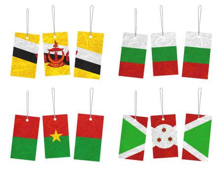 brunei darussalam: Nation Flag. Tag recycled paper on white background. ( Brunei Darussalam , Bulgaria , Burkina Faso , Burundi )