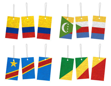 democratic republic of the congo: Nation Flag. Tag recycled paper on white background. ( Colombia , Comoros , Congo Democratic Republic , Congo Republic )  Stock Photo