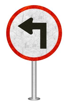 turn left: Girare a sinistra della carta riciclata segno del traffico su sfondo bianco.