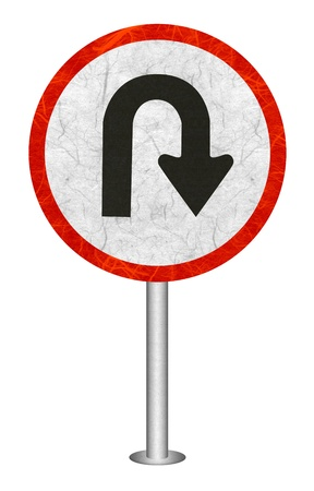 U - Tune traffic sign recycled paper on white background.