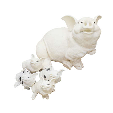 Statue of a pig family isolated over a white background. photo
