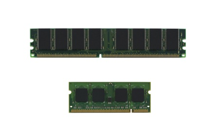 Stack of computer memory modules isolated on a white background  photo