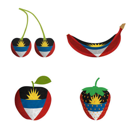 antigua flag: Antigua and Barbuda flag is shape of fruit  Mulberry paper on white background  Stock Photo
