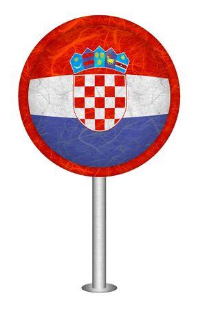 bandiera croazia: Croazia bandiera segno Mulberry su sfondo bianco