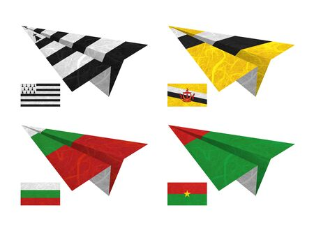 Nation Flag. Airplane recycled paper on white background. ( Brittany , Brunei Darussalam , Bulgaria , Burkina Faso ) photo