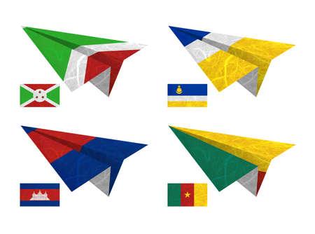 Nation Flag. Airplane recycled paper on white background. ( Burundi , Buryatia , Cambodia , Cameroon ) photo