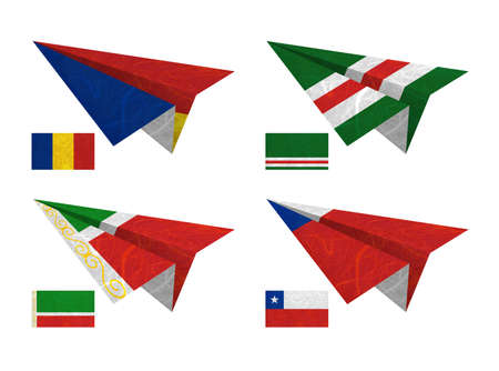 Nation Flag. Airplane recycled paper on white background. ( Chad , Chechen Republic of Ichkeria , Chechen Republic , Chile ) Stock Photo - 13880293