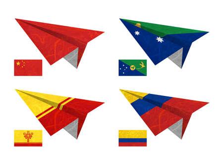 Nation Flag. Airplane recycled paper on white background. ( China , Christmas Island , Chuvashia , Colombia ) photo