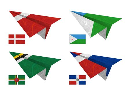 Nation Flag. Airplane recycled paper on white background. ( Denmark , Djibouti , Dominica , Dominican Republic ) photo