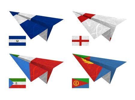Nation Flag. Airplane recycled paper on white background. ( El Salvador , England , Equatorial Guinea , Eritrea ) photo