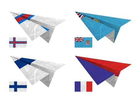 Nation Flag. Airplane recycled paper on white background. ( Faroe Islands , Fiji , Finland , France ) photo