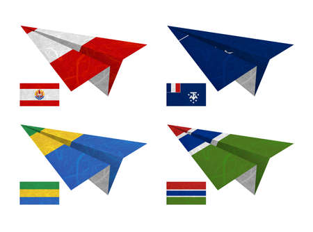 Nation Flag. Airplane recycled paper on white background. ( French Polynesia , French Southern and Antarctic Lands , Gabon , Gambia ) photo