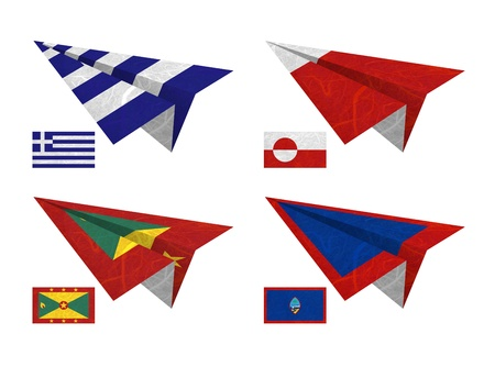 Nation Flag. Airplane recycled paper on white background. ( Greece , Greenland , Grenada , Guam ) photo