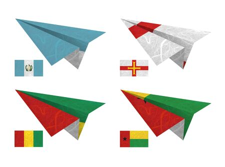 Nation Flag. Airplane recycled paper on white background. ( Guatemala , Guernsey , Guinea , Guinea-Bissau ) photo