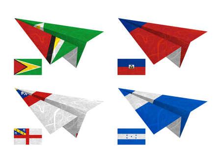 Nation Flag  Airplane recycled paper on white background    Guyana , Haiti , Herm , Honduras   photo