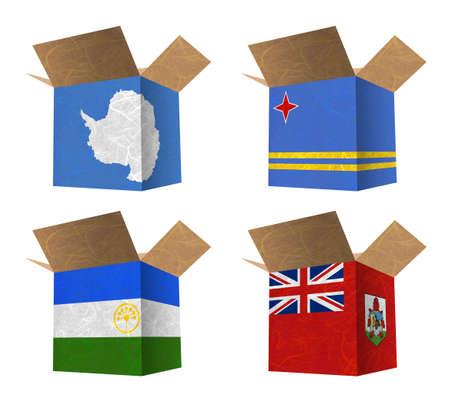 background antarctica: Nation Flag  Box recycled paper on white background    Antarctica , Aruba , Bashkortostan , Bermuda   Stock Photo
