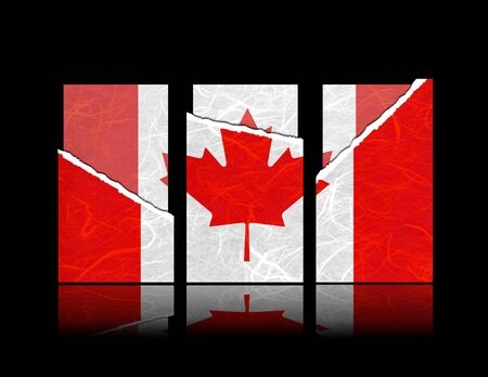 canada flag: Canada flag of tear paper with gift cards  Mulberry paper on black background