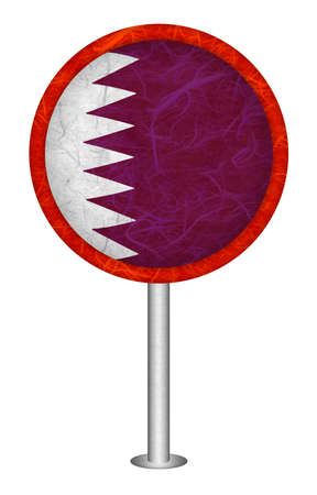mulberry paper: Qatar flag sign. Mulberry paper on white background.