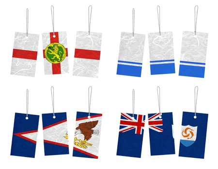 altai: Nation Flag. Tag recycled paper on white background. ( Alderney , Altai Republic , American Samoa , Anguilla )