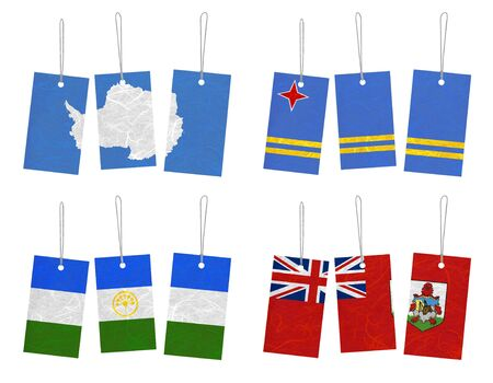 background antarctica: Nation Flag. Tag recycled paper on white background. ( Antarctica , Aruba , Bashkortostan , Bermuda )  Stock Photo