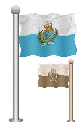 marino: San Marino flag waving on the wind. Flags of countries in Europe. Mulberry paper on white background.