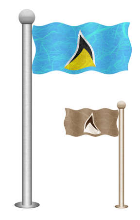 saint lucia: Saint Lucia flag waving on the wind. Flags of countries in North America. Mulberry paper on white background.