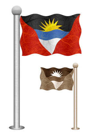 barbuda: Antigua and Barbuda flag waving on the wind. Flags of countries in North America. Mulberry paper on white background.