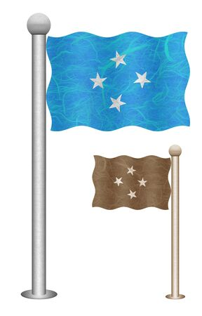 Micronesia flag waving on the wind. Flags of countries in Oceania. Mulberry paper on white background. Stock Photo - 14155892