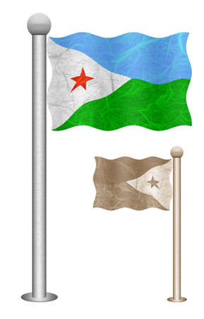 Djibouti flag waving on the wind. Flags of countries in Africa. Mulberry paper on white background. Stock Photo