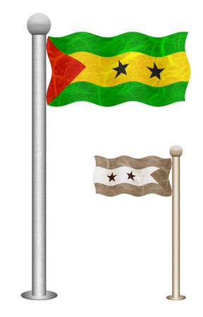 principe: Santo Tomé y Príncipe bandera ondeando en el viento. Banderas de países de África. Morera de papel sobre fondo blanco.